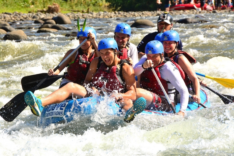 Raft people into a river